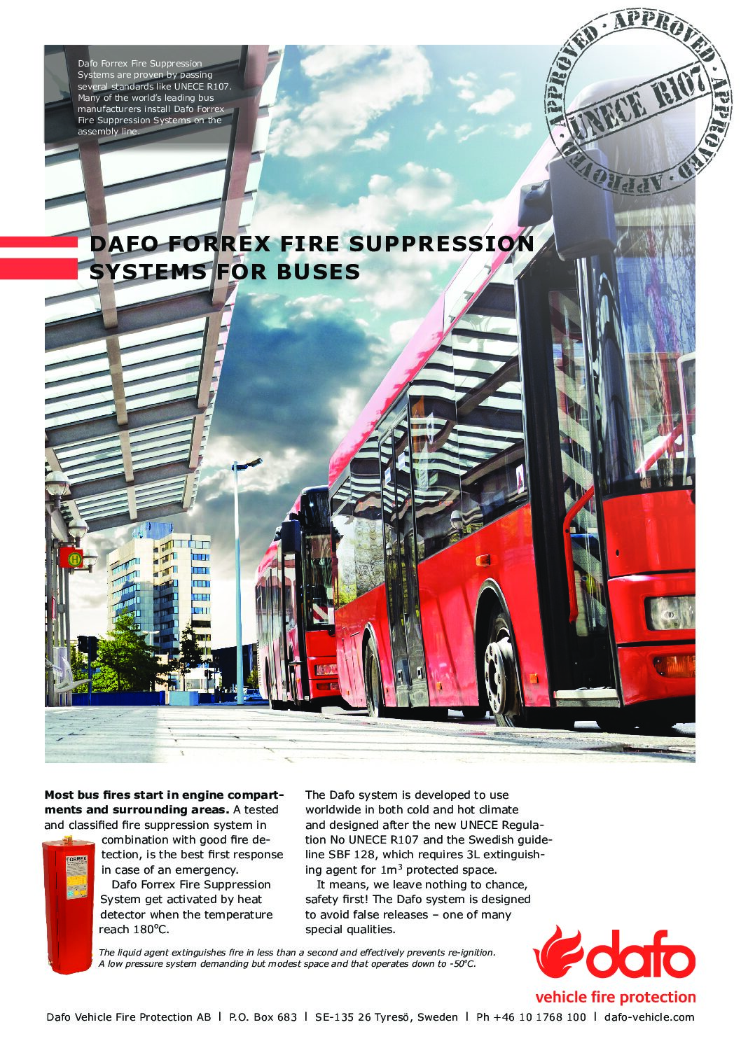 Dafo Forrex Fire Suppression Systems for Buses