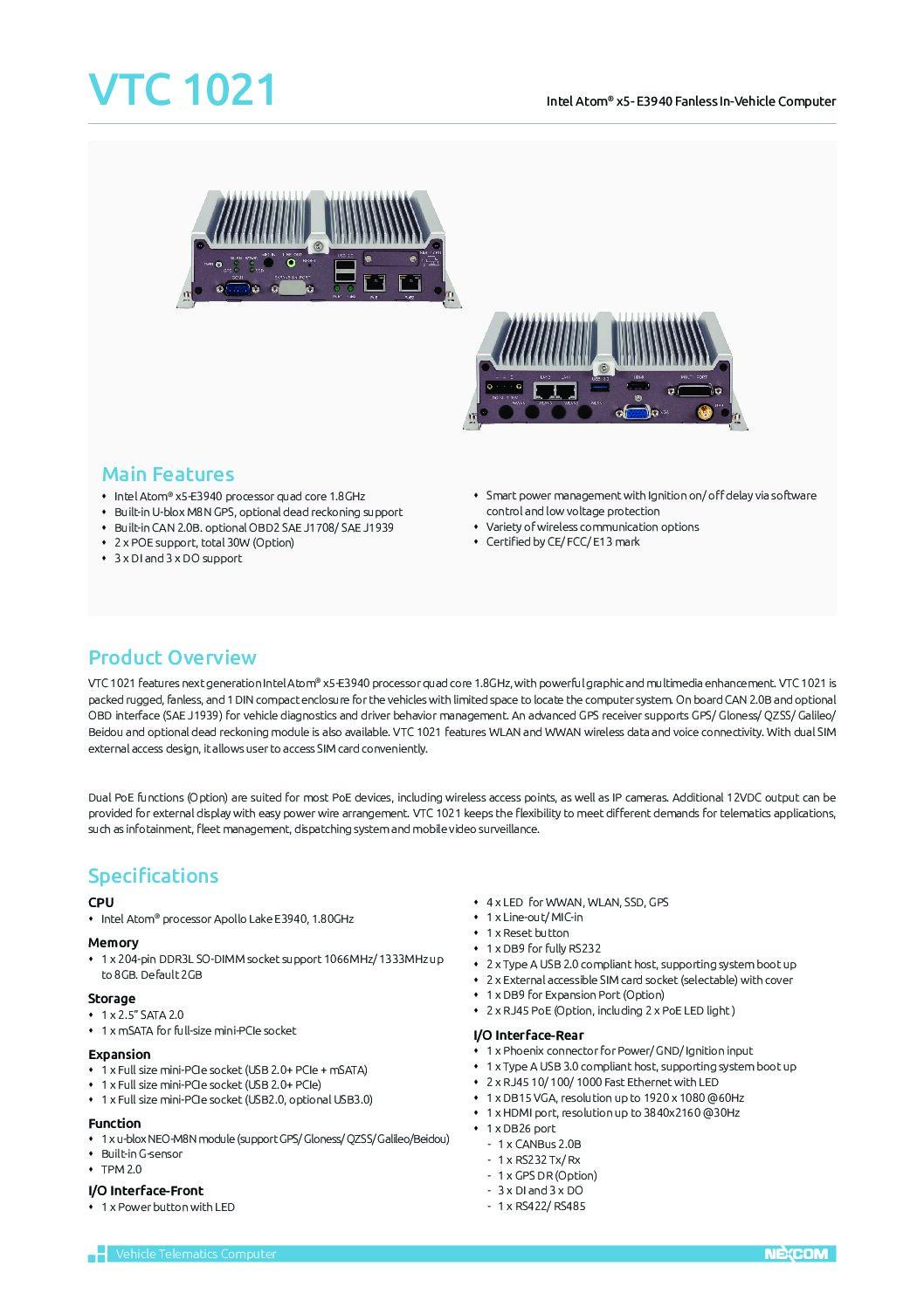 Entry Surveillance Solution – VTC 1021