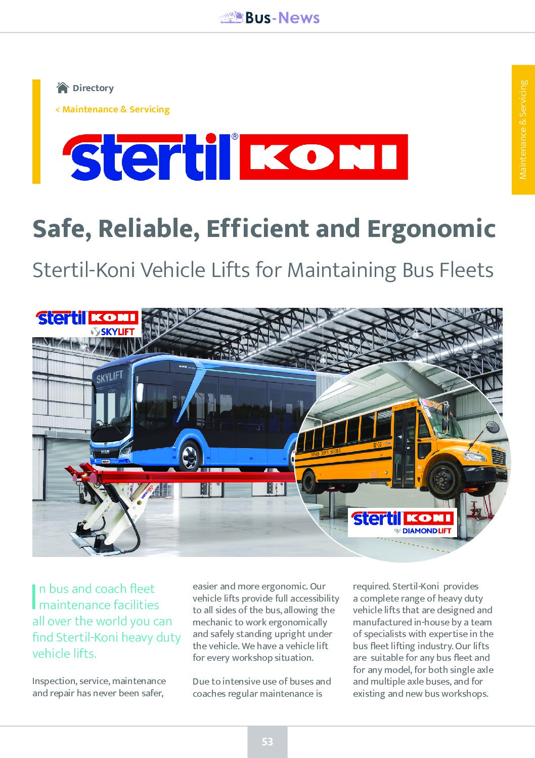 Stertil-Koni: Vehicle Lifts for Maintaining Bus Fleets