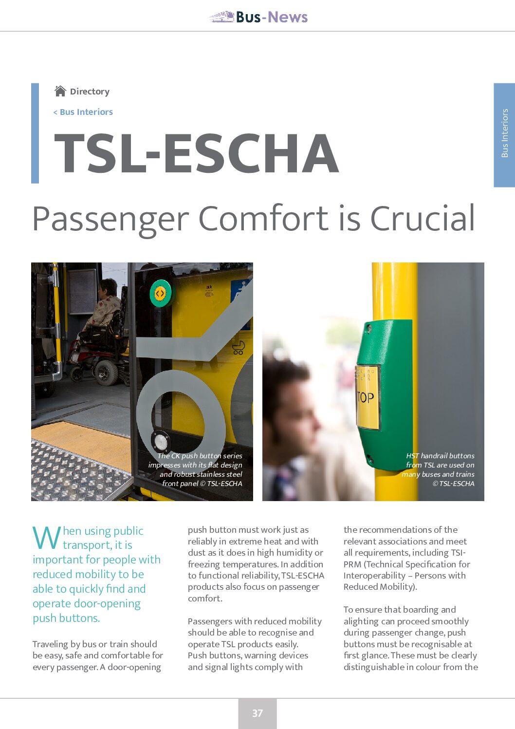 TSL-ESCHA: Passenger Comfort is Crucial